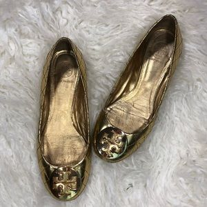 Tory Burch Reva Gold Quilted Ballet Flats